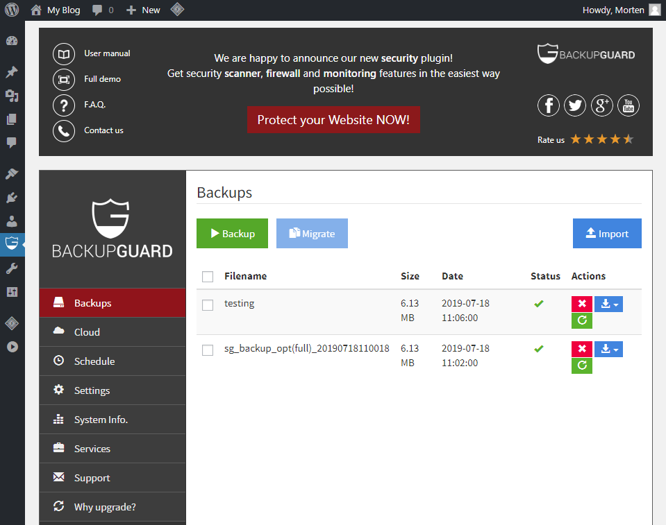 Backup Guard WordPress plugin
