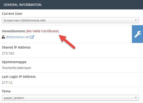 Viser om hoveddomenet har gyldig SSL sertifikat