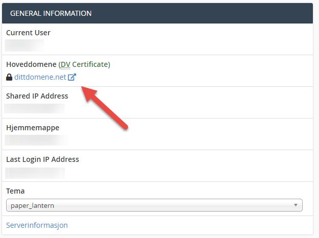 Slik vil et gyldig sertifikat vise i cPanel