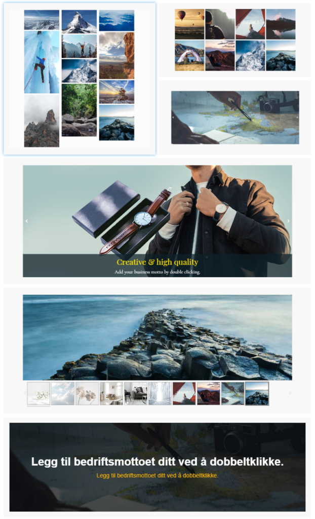 Responsive bildegallerier i nettsidebyggeren. Velg blant slidere, gallerier eller enkeltbilder.