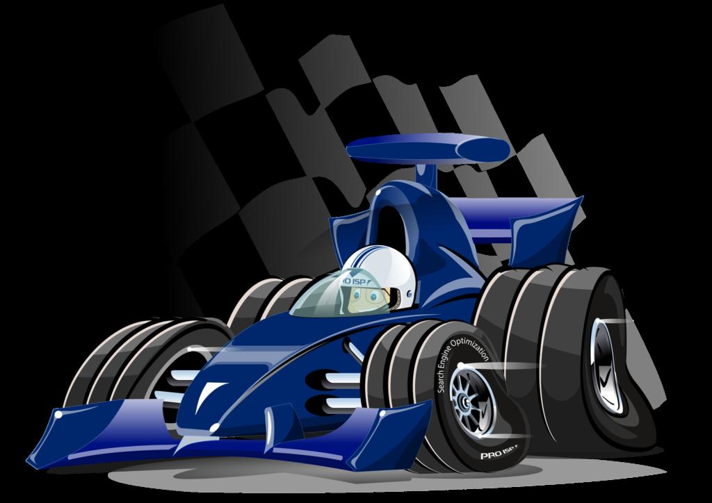 PRO ISP-Tom sitter i en blå racerbil.