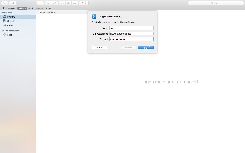 Legg inn navn og epost adresse i Apple Mail